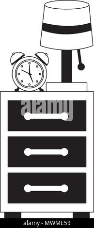 bedside table lamp clock alarm image vector illustration black and white - Stock Photo
