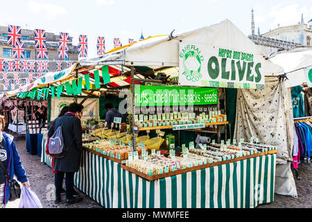 Olive stall, olives, olive sign, fresh olives, olives, market stall, market stalls, herbs & spices, selling olives, selling herbs & spices, market, - Stock Photo