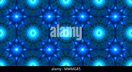 Abstract Blue Sci-Fi Ornamental Tile Able Pattern or Background - Stock Photo