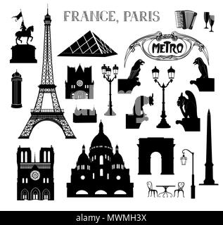 Travel Paris icon set. Vacation in Europe design elements. Travel to visit famous places of France  silhouettes over white background. Landmark collec - Stock Photo