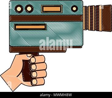 hand holding video camera device vintage vector illustration  drawing - Stock Photo