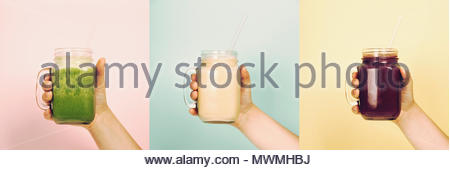 Woman (teenage girl) hand holding smoothie shake against bright wall - collage - Stock Photo