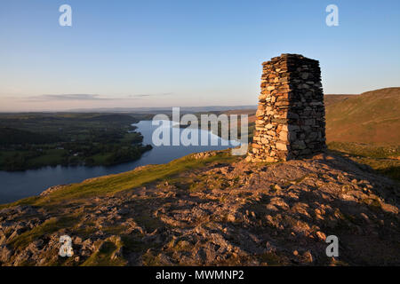 Sunset over Ullswater from Hallin Fell, Cumbria - Stock Photo
