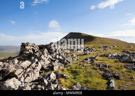 The summit ridge of Wild Boar Fell in the Yorkshire Dales of Cumbria, UK - Stock Photo
