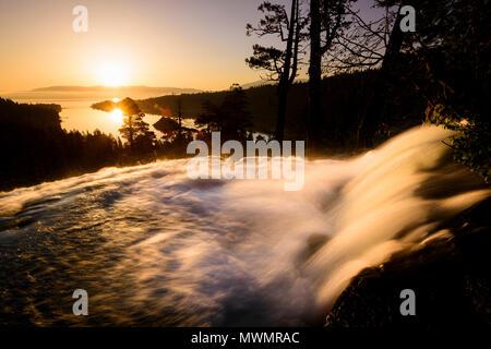 Sunrise over Eagle Falls in Emerald Bay, South Lake Tahoe, CA - Stock Photo