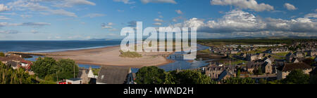 A panoramic view looking east from Lossiemouth on the Moray Firth, Moray, Scotland, United Kingdom - Stock Photo