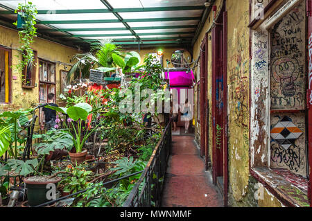 Szimpla Kert , one of the oldest Ruin Pubs In Budapest , interior detail - Stock Photo