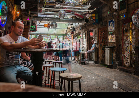 Szimpla Kert , one of the oldest Ruin Pubs In Budapest - Stock Photo