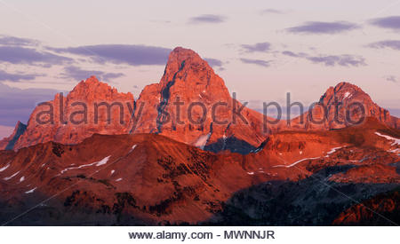 The Teton Range at Sunset seen from the West, Caribou-Targhee National Forest, Idaho - Stock Photo