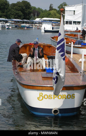 Umpire's boat moored at Henley Royal Regatta, Oxfordshire, UK - Stock Photo
