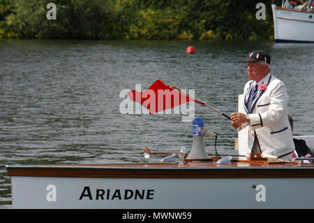 An Umpire's boat about to start a race, Henley Royal Regatta, Oxfordshire, UK - Stock Photo