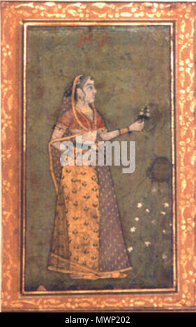 . Rani Durgavati .  English: Transferred from the School of Arts and crafts in 1943. The picture shows, the Rani in standing posture, she holds flower in her left hand. An inscription is written on the top portion of the painting. . Late 17th century.. Unknown Mughal artist 512 Rani Durgavati - Stock Photo