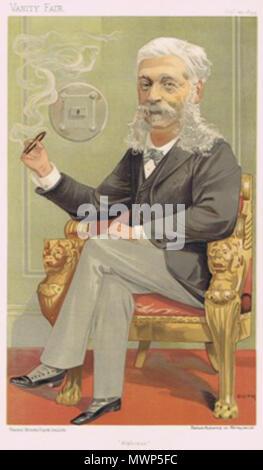 . Caricature of The Baron AJ de Rothschild. Caption read 'Alphonse'. 1894. Jean Baptiste Guth 530 Alphonse James de Rothschild Vanity Fair 1894-09-20 - Stock Photo
