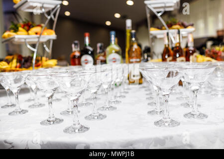 Many glasses of colorful Cocktails on the table - Stock Photo