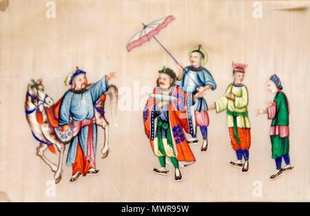 .  Català: Cinc homes conversant .  Català: Cinc homes conversant. pintura sobre paper. Biblioteca Museu Víctor Balaguer . between 1800 and 1899 88 BMVB - no informat - Cinc homes conversant - 6408 - Stock Photo