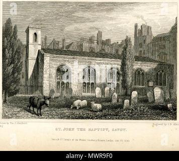 . Engraving of the Savoy Chapel with a donkey and three sheep . 1830. Thomas Hosmer Shepherd 545 Savoy Chapel Thomas Hosmer Shepherd 1830 - Stock Photo