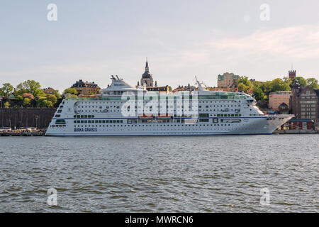 STOCKHOLM, SWEDEN, MAY 19, 2018: The cruise ship Birka embarked going to Finland every day trough the archipelago of both Sweden and Finland. - Stock Photo