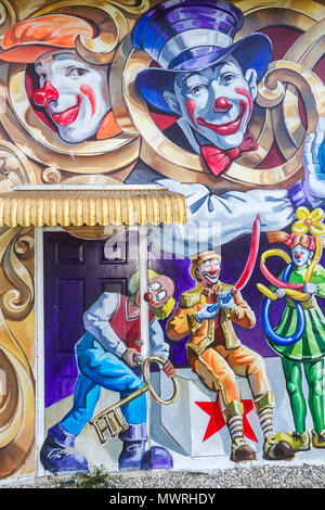 Florida Lake Placid Toby the Clown Foundation school public art humor - Stock Photo