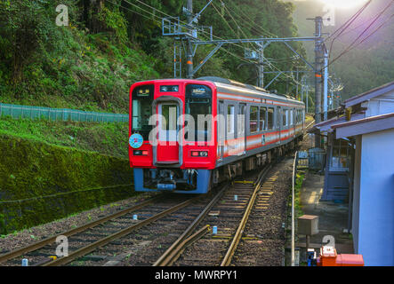 Osaka, Japan - Nov 24, 2016. A train coming to railway station on Mount Koya (Koyasan) in Osaka, Japan. - Stock Photo
