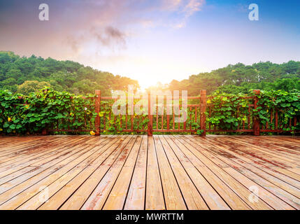 Three on the wooden platform and distant vegetation - Stock Photo