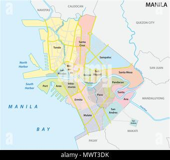manila administrative, political and road vector map, philippines - Stock Photo