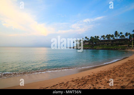 Frequently rated as one of the most beautiful beaches in the world - Kaanapali Beach in Lahaina, Maui, Hawaii - Stock Photo