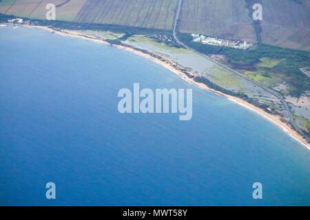 An aerial shot of the beautiful coast of the island of Maui, Hawaii, USA - Stock Photo