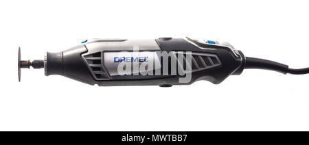 SWINDON, UK - JUNE 2, 2018: Dremel 4000 Multi Tool on a white background. - Stock Photo