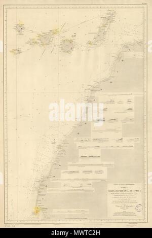 . English: Map detailing the coastline of colonial Spanish Sahara in 1896. Español: Mapa detallando la costa del entonces Sáhara Español en 1896. 15 April 2009, 18:49:24. Depósito Hidrográfico, Madrid, 1896 (L. Galvan la grabó, S. Bregante la letra) 145 CostaAOE1896g - Stock Photo