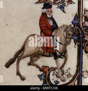 . English: The Franklin in the Ellesmere manuscript of Geoffrey Chaucer's Canterbury Tales. 12 October 2013, 17:58:44. Anonymous 596 The Franklin - Ellesmere Chaucer - Stock Photo