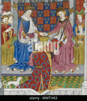 . English: Detail of the illuminated miniature on the presentation page of the Talbot Shrewsbury Book, showing the donor, John Talbot, 1st Earl of Shrewsbury, with his characteristic dog presenting the book as a gift to Margaret of Anjou and Henry VI . Fifteenth century. Master of Talbot 587 Talbot Dog Margaret Henry VI Shrewsbury Manuscript - Stock Photo
