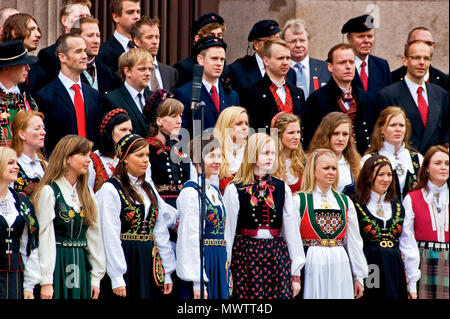 Norway - Choir in  Oslo on Norwegian Constitution Day - Stock Photo
