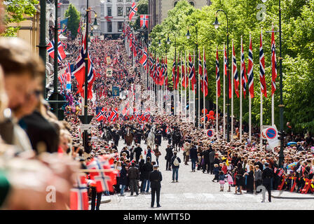 Norway - Parade in Oslo on Norwegian Constitution Day - Stock Photo