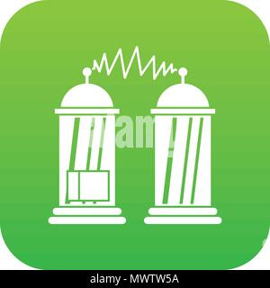 Electrical impulses icon digital green - Stock Photo
