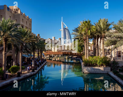 Medinat Jumeirah and Burj Al Arab Luxury Hotel, Dubai, United Arab Emirates, Middle East - Stock Photo