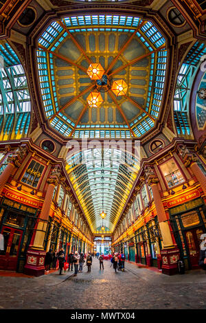 Fisheye view of interior of Leadenhall Market, The City, London, England, United Kingdom, Europe - Stock Photo