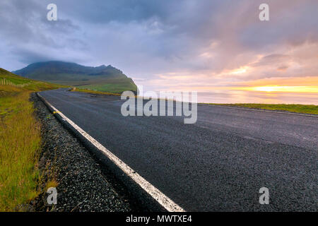 Road to Vidareidi, Vidoy Island, Faroe Islands, Denmark, Europe - Stock Photo
