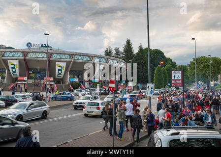 Varese, Italy - May 16, 2018: Area in front of the sports hall, Pala2a, before a match. Palace of Varese Basketball - Stock Photo