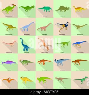 Dinosaur types signed name icons set, flat style - Stock Photo