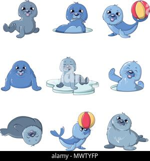 Seal pups cute character icons set, cartoon style - Stock Photo
