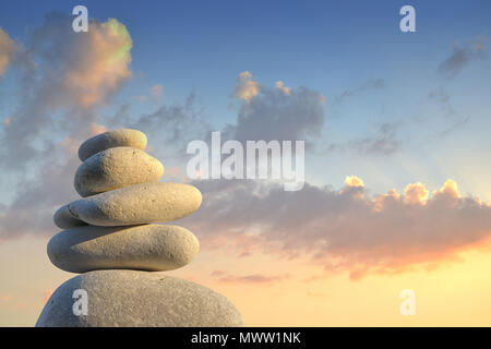 Stone pyramid in the evening light - Stock Photo