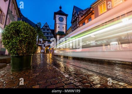 Freiburg im Breisgau (Germany) at night - Stock Photo