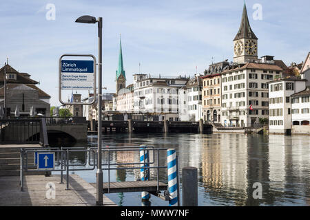 The Limmat river in Zurich's Old Town, Canton of Zurich, Switzerland - Stock Photo