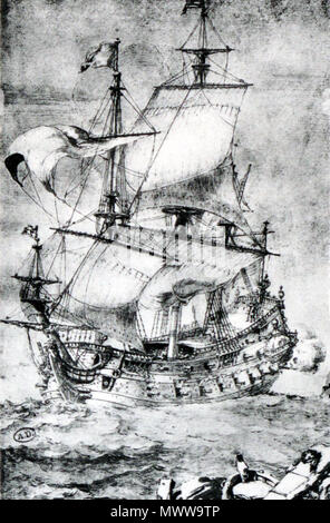 . French ship of the line, first rate . Contemporary drawing. Pierre Paul Puget 222 French first rate-Pierre Puget-img 3212 - Stock Photo