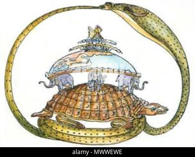 . English: the turtle and elephants and the 'flat earth myth' . native science 602 THE TURTLE AND ELEPHANT - Stock Photo