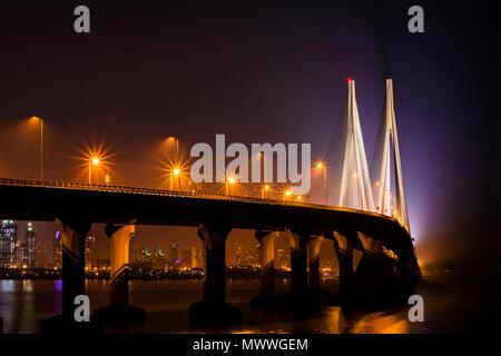 Night view of the Worli sea link in Mumbai, India. - Stock Photo