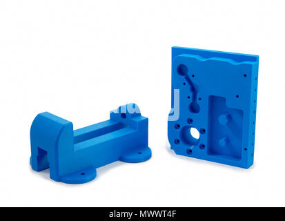 Industrial Machine Parts Printed With 3D Printer - Stock Photo