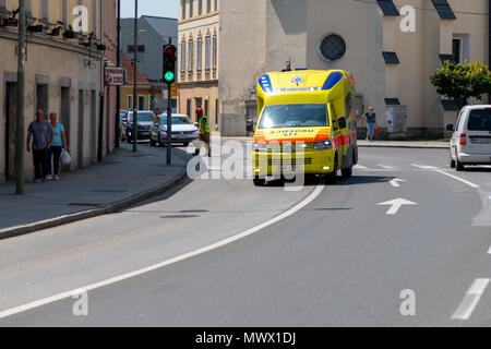 Slovenska Bistrica, Slovenia. June 2nd 2018.  Emergency Services Workers train in joint action with Rescuers, Firemen, Police and Red Cross in Slovenska Bistrica to ensure readiness in case of emergency. Majority of participants are volunteers in local fire brigades and Red Cross. Credit: Andrej Safaric/Alamy Live News - Stock Photo