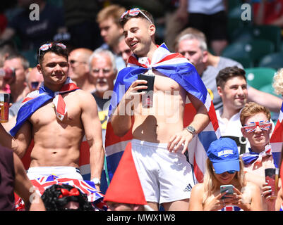 Twickenham Stadium, London, UK. 2nd June, 2018. HSBC World Rugby Sevens Series, England fans show their support for their team Credit: Action Plus Sports/Alamy Live News - Stock Photo