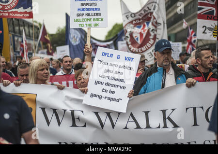 Manchester, Greater Manchester, UK. 2nd June, 2018. Members of The Democratic Football Lads Association march in Manchester two weeks after the anniversary of the Manchester Bomb. The March was met by a counter demonstration by organised by Stand Up to Racism. Credit: Steven Speed/SOPA Images/ZUMA Wire/Alamy Live News - Stock Photo